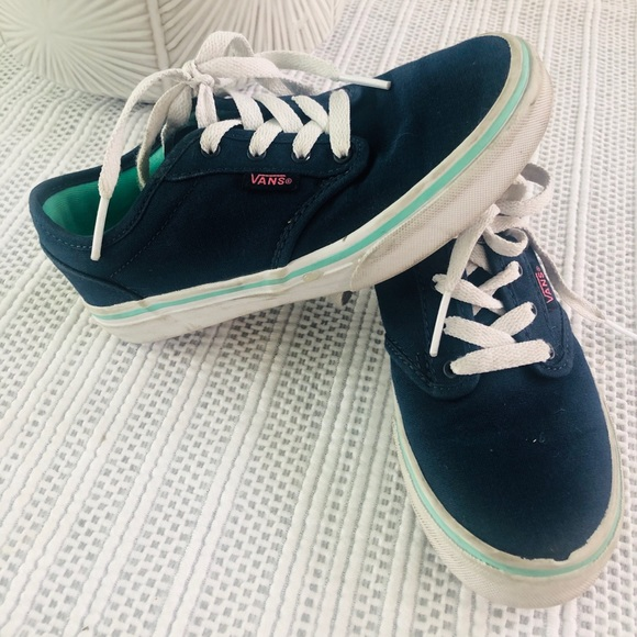 outlet store sale 2019 professional on feet shots of VANS NAVY BLUE PINK LOGO SNEAKERS GIRLS 1